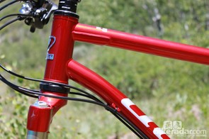 The 44mm 'can' style head tube and impressive welding where the top and down tubes meet it