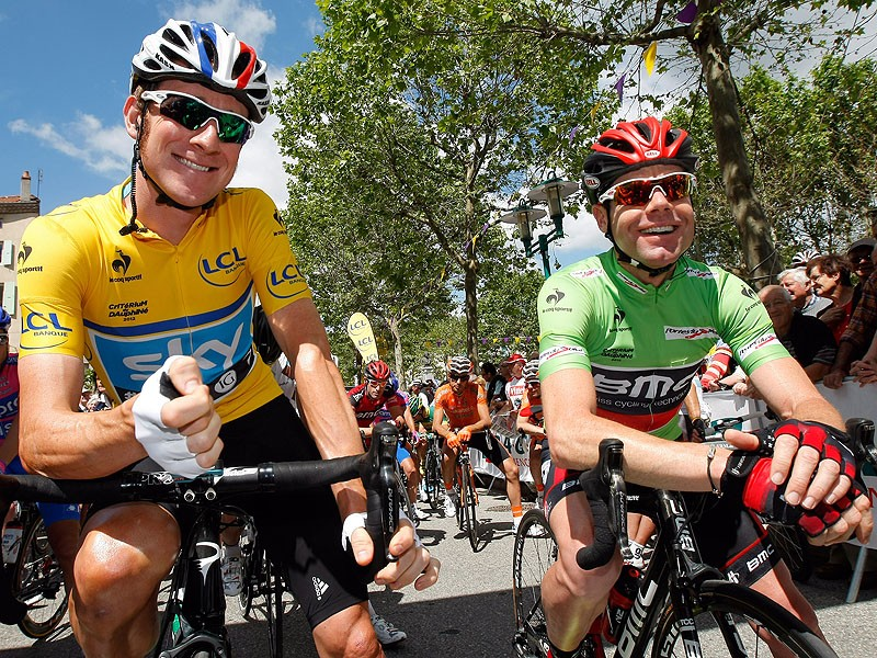 Will Wiggins and Cadel Evans, seen here at the the Criterium du Dauphine, be the top two contenders for the title?