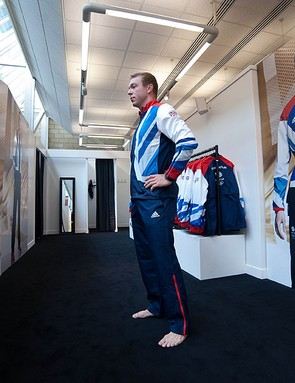 Sir Chris Hoy regrets his lack of shoes as he stares down a cardboard cutout version of himself