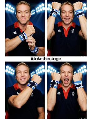 Sir Chris Hoy poses in the Team GB sweat bands in Adidas's photo booth
