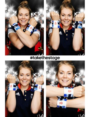 Jess Varnish poses in the Team GB sweat bands in Adidas's photo booth