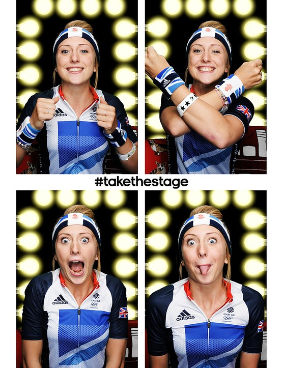 Laura Trott poses in the Team GB sweat bands in Adidas's photo booth