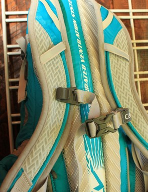 The women's Spark lumbar pack; Camelbak have moved the sternum strap tube trap opening to the inside on all of the packs and combined it with the sternum strap attachment — it was a two-piece system last year