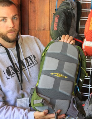 Seth Biden, Camelbak's marketing manager, showing off the XV back panel, which replaces the previous Air Director design