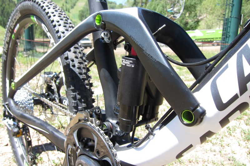 The wide carbon shock link clamps to 15mm aluminum axles, which rotate on bearings press fit to the frame