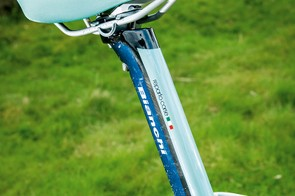 The finned seat tube and rear brake routed inside the top tube make it aero without sacrificing stiffness