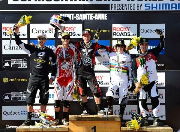 Elite men's downhill World Cup podium in Mont-Sainte-Anne: Gee Atherton (GT), Greg Minnaar (Santa Cruz Syndicate), Aaron Gwin (Trek World Racing), Danny Hart (Giant), Sam Hill (Monster Energy)