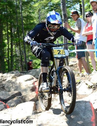 Rachel Atherton (GT) on her way to victory in Mont-Sainte-Anne at the World Cup