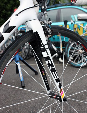The accent colors on Contador's Trek Madone 6-Series denoted the major victories he'd earned at the time
