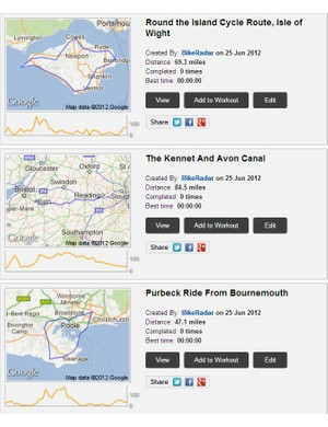 Some of the new routes that you can now find on BikeRadar Training