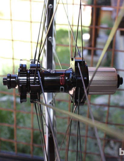 The wider-flanged Pro SL rear hub