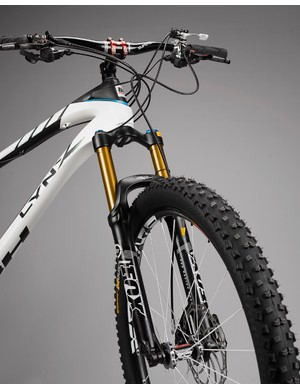 The Fox 32 150mm fork was a good choice for this bike, although we'd opt for the Float version over the TALAS