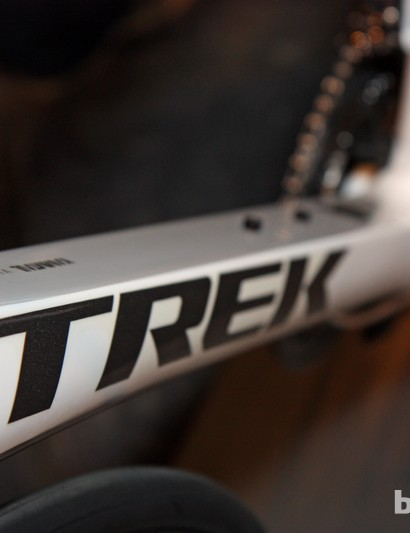 Trek's Kamm Virtual Airfoil tube shaping technology yields a dramatically flat backside to the down tube, seat tube, seat stays, and fork blades