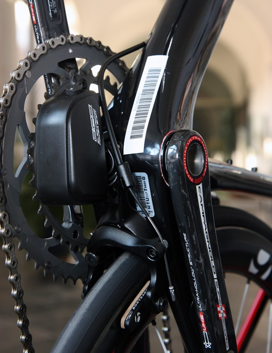 The combination of an electronic drivetrain and the new chain stay-mounted rear brake on Trek's latest Madone 7-Series makes the bottom bracket a busy area