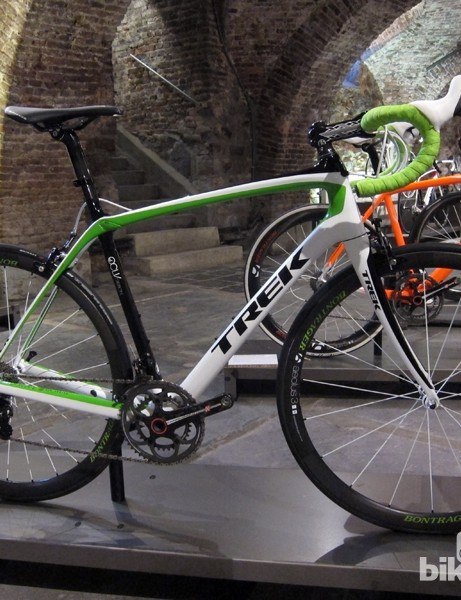 The Trek Domane 6-Series is available in a number of custom Project One paint schemes, such as this 'Arenburg' layout