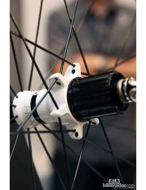 So-called 'stacked' spoke lacing on Bontrager's upper-end wheels effectively allows for wider bracing angles and stiffer wheels