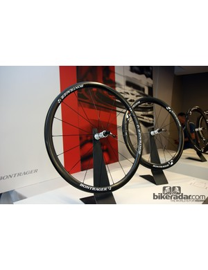 Bontrager's new 35mm-deep Aeolus 3 D3 carbon clincher (foreground) is said to produce less aerodynamic drag than competitors' wheels with deeper sections