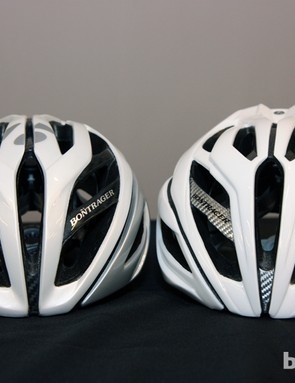Styling on the new Bontrager Specter helmet (right) is very similar to the flagship Oracle model (left)