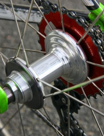 The rear hub features tall flanges to help transmit power to the rim.