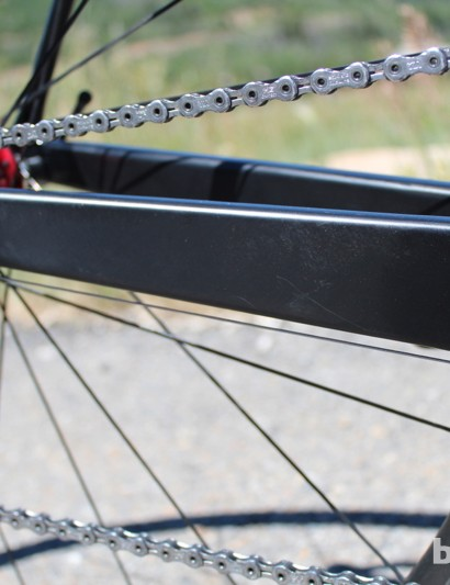 Enormous chain stays make for impressive lateral stiffness when you're out of the saddle