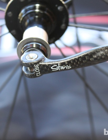 Stan's Pro model wheelsets come with fancy skewers, carbon levers and hollow tubular shafts, which are as light as titanium but resist stretch more effectively
