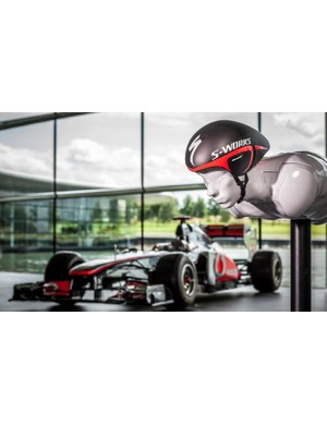 McLaren's Technology Centre (and Lewis Hamilton's car) provide the backdrop for Specialized's latest helmet