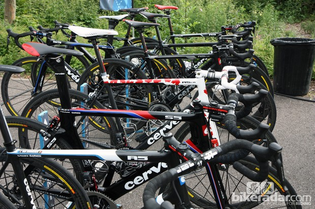 Garmin-Sharp's Cervélo S5, R5 and R5ca machines lined up before the start of the 2012 Tour de France