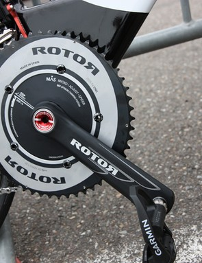 Garmin-Sharp debuted Rotor's new Flow aero time trial cranks, featuring sculpted arms, a smooth spider and outer chainring, and micro-adjustable chainring mounts to fine-tune positioning for riders opting for the elliptical Q-Rings
