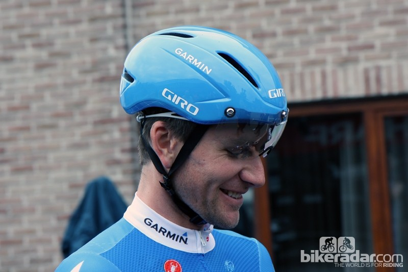 David Zabriskie donned a new Giro Air Attack helmet for his training ride on Friday