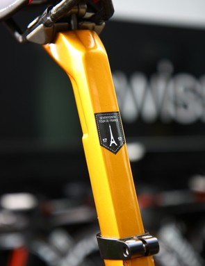BMC included a matching seatpost for George Hincapie's (BMC) special edition TeamMachine SLR01