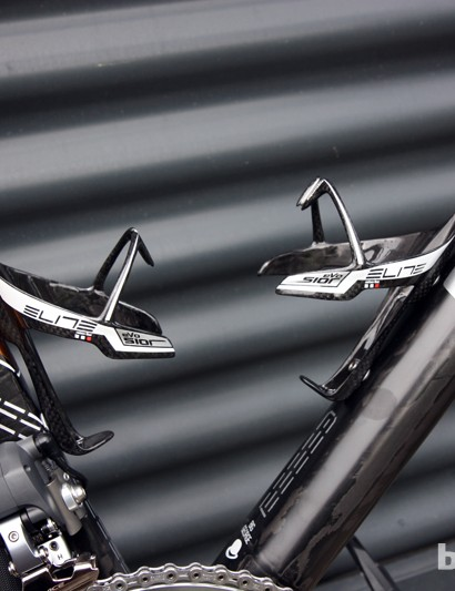A pair of Elite's ultra-premium Sior Evo bottle cages sit empty for now