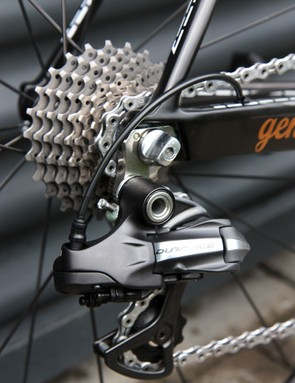 George Hincapie's (BMC) special bike features a machined stainless steel rear derailleur hanger for more precise shifting