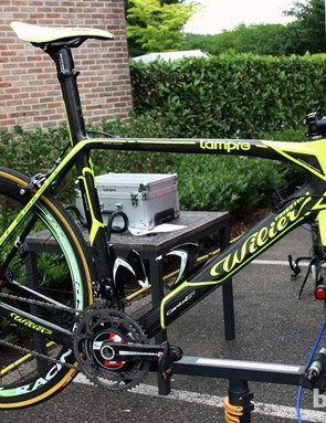 Lampre-ISD mechanics were preparing new Wilier Triestina Cento 1 SR machines prior to the start of this year's Tour de France