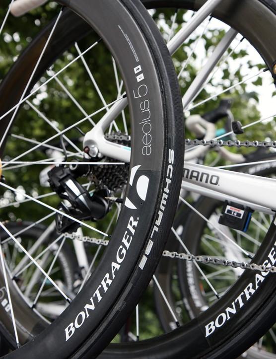 Schwalbe Ultremo HT tubular tires mounted on Bontrager Aeolus 3 D3 carbon wheels for Fabian Cancellara (Radioshack-Nissan-Trek)