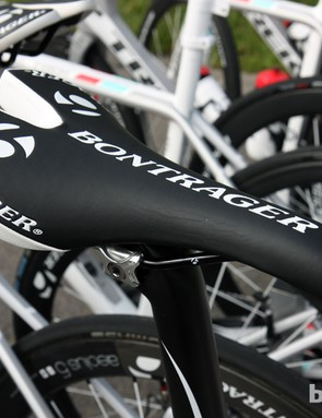 Fabian Cancellara (Radioshack-Nissan-Trek) prefers the very traditional shape of Bontrager's Team Issue saddle