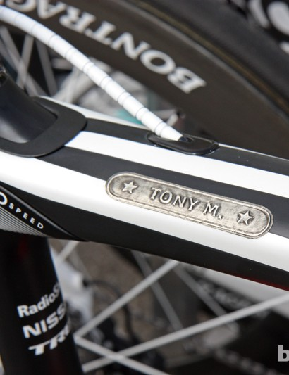 Fabian Cancellara's (Radioshack-Nissan-Trek) standard Trek Domane 6-Series wear this name label but his yellow bike gets a simpler 'Fabian' sticker