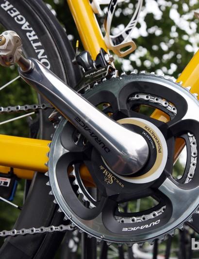 An SRM power measuring crank with gold highlights for Fabian Cancellara (Radioshack-Nissan-Trek)