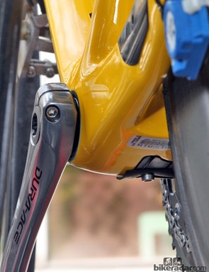 Fabian Cancellara's (Radioshack-Nissan-Trek) Trek Domane is intentionally built without the supplemental bottom bracket seal on the non-driveside