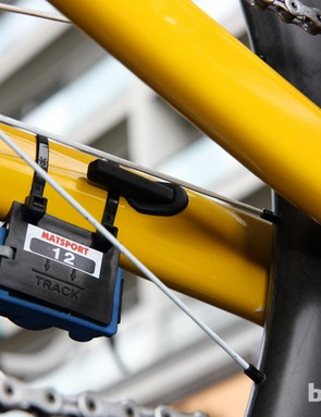 The timing transceiver is attached just behind the Bontrager Duotrap wireless speed and cadence sensor