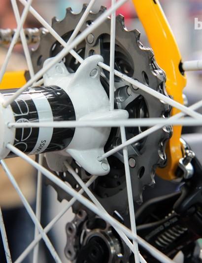 So-called 'stacked' driveside spoke lacing on Fabian Cancellara's (Radioshack-Nissan-Trek) Trek Domane 6-Series