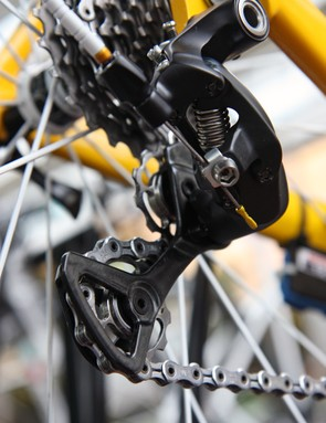 Fabian Cancellara's (Radioshack-Nissan-Trek) Shimano Dura-Ace rear derailleur is equipped with aftermarket pulleys, presumably intended to reduce friction