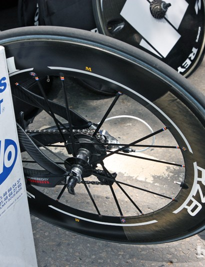 Ag2r-La Mondiale riders used Reynolds' ultra-light RZR 92 wheelsets for the opening prologue