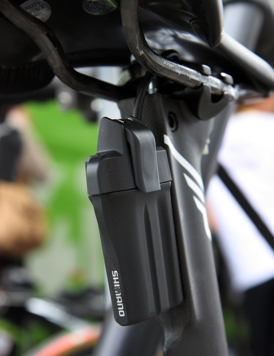 Shimano Di2-equipped teams ran a wide range of battery mounts. Argos-Shimano place them behind the seatpost but others put them beneath the down tube, underneath the chain stay or inside the frame