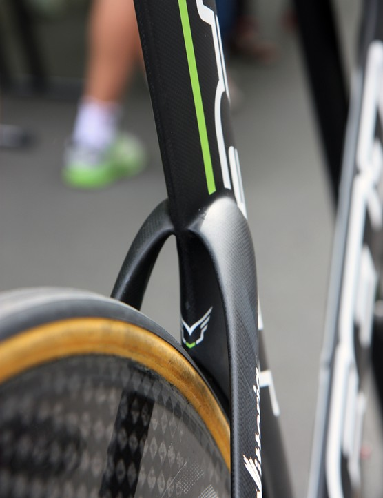 The sleek seat stay/seat tube junction on Argos-Shimano's Felt DA time trial bikes
