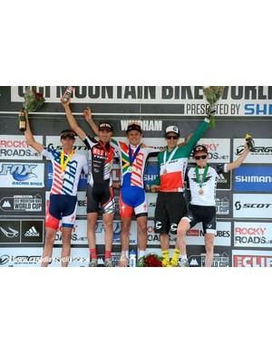 Todd Wells, Sergio Mantecon Gutierrez, Burry Stander, Marco Aurelio Fontana and Mathias Flückiger on the podium