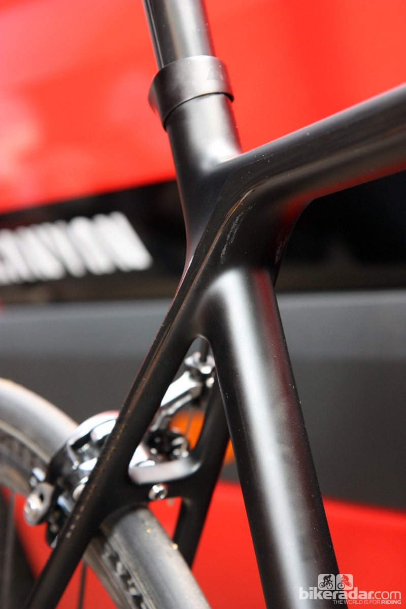 The seat stay attachment points have been pushed out to help improve rear triangle stiffness