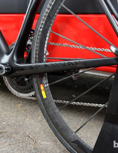 The new Canyon Ultimate CF SLX's asymmetrical chain stays aren't incredibly tall but they're impressively wide, at least on the non-driveside