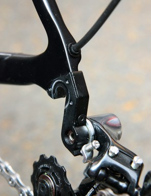 Canyon have engineered a two-piece replaceable rear derailleur hanger, which not only sandwiches the carbon dropout but creates a box-like structure for what should be outstanding stiffness