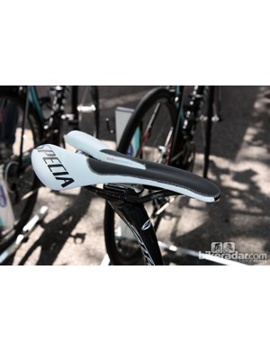 Friction-increasing add-ons such as Fizik's Grip Strip have been deemed illegal by the UCI. Specialized have already got round the rule by stitching grippy material to the nose of an otherwise standard Romin saddle. Tony Martin is testing the saddle right now and the cat's tongue-like material will be included on a consumer model later this year