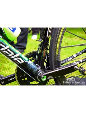 Peter Sagan's (Liquigas-Cannondale) special SuperSix Evo Hi-Mod was painted by Artech